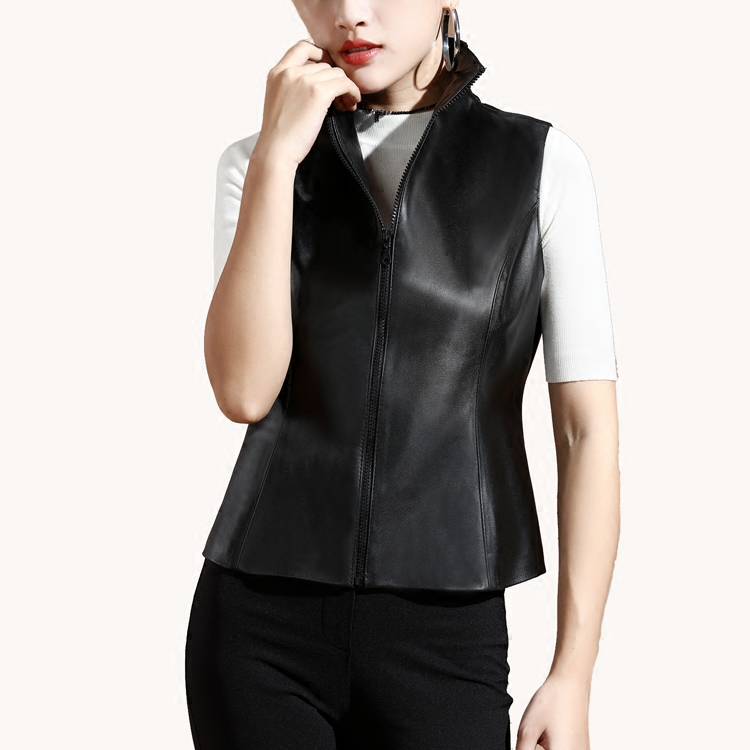 Genuine Leather Vest Women Black Zipper Waistcoat Female no Pockets Slim Fit Gilet Autumn Classic Sleeveless