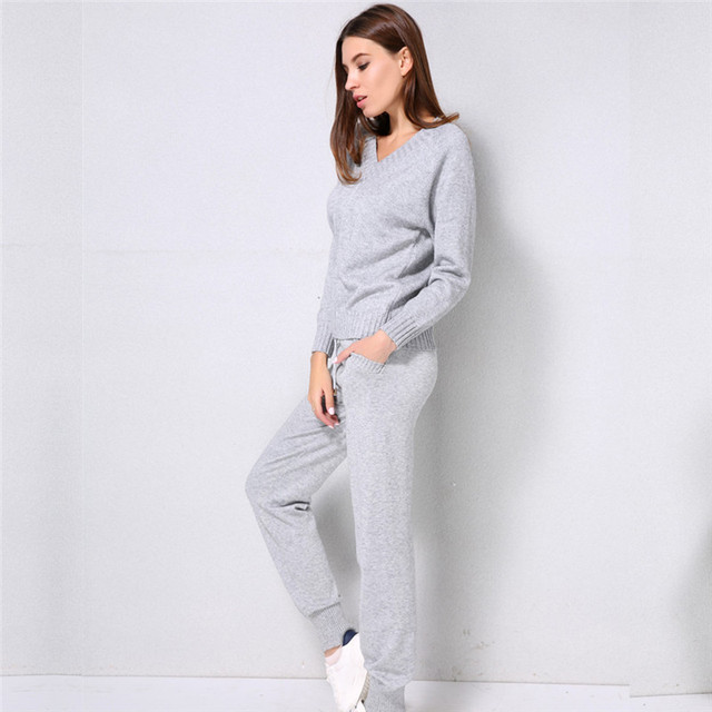 Women Knitted Tracksuit Casual Sporting Suit 2 Two Piece Set Top And Pants Sexy V-neck Female Sweater Outfit Set Gray Khaki Pink