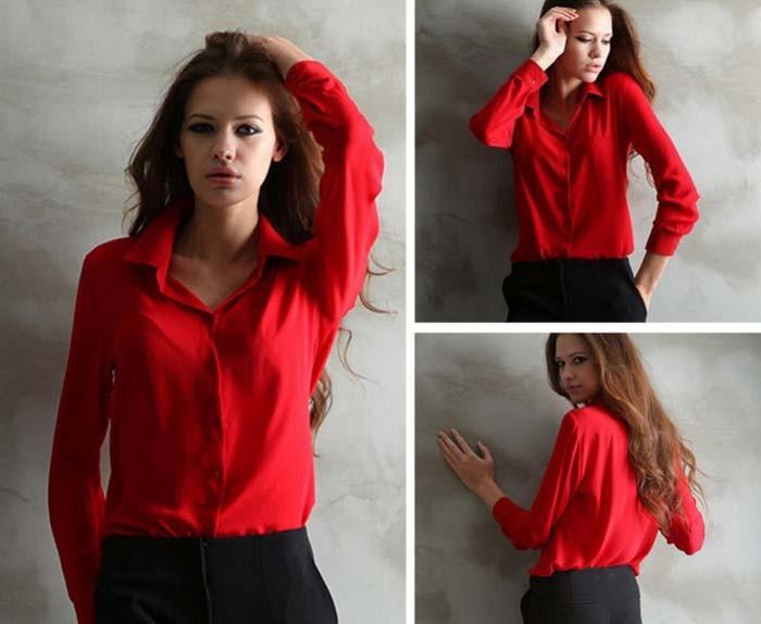 1PC Women Chiffon Blouse Long Sleeve Shirt Women Tops Office Lady Blusas Femininas Camisas Mujer Z231 2