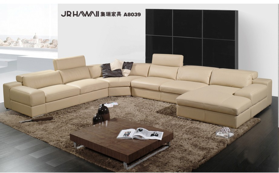 elegant and rational genuine real leather sofa living room sofa sectional u shape wholesale - Wohnzimmer Beige Couch
