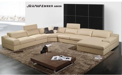 Elegant and rational genuine real Leather sofa Living room sofa sectional u shape--Wholesale and retail shipping to your port