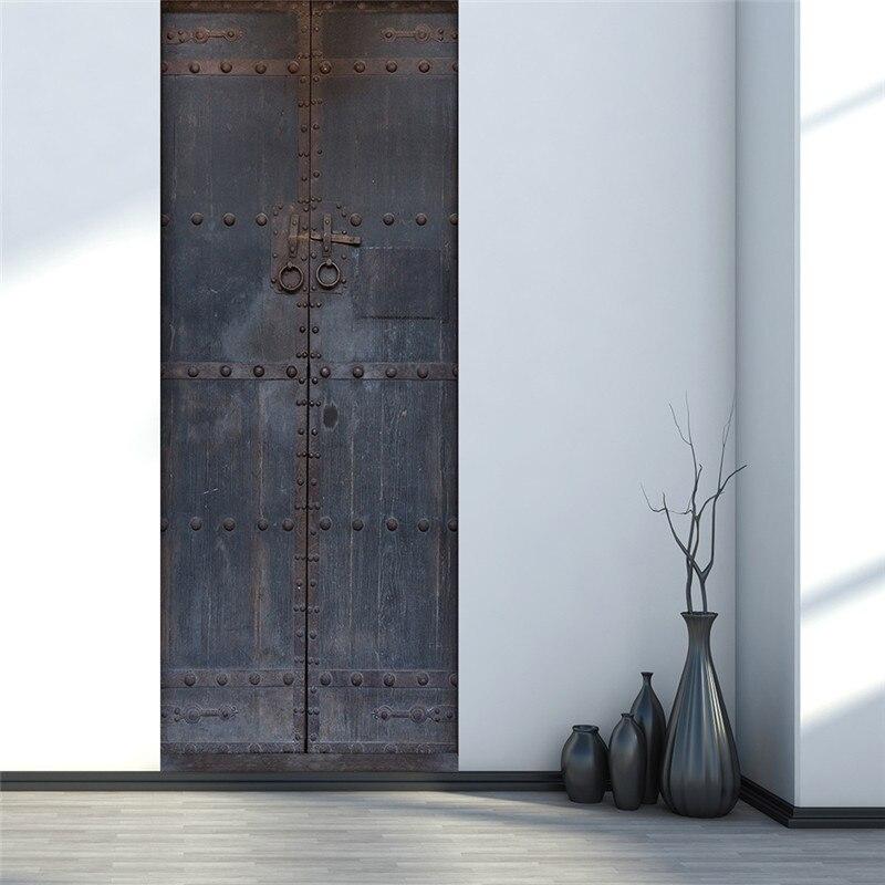 Image 2 - Старые эффекты железная дверь спальня самоклеющиеся 3D наклейки на стену 38,5x200 см дверь Гостиная Декор наклейки украшение дома-in Настенные наклейки from Дом и животные