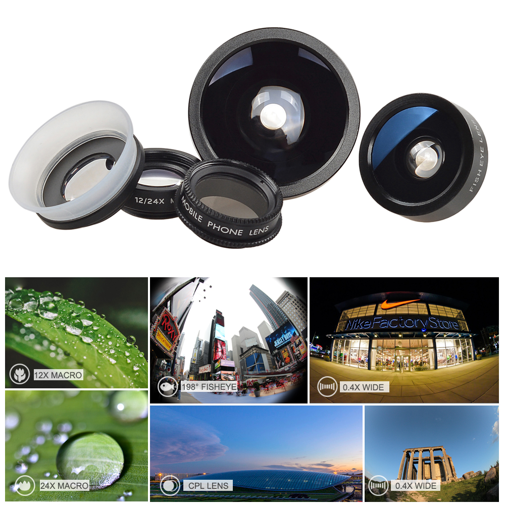 APEXEL Fish Eye+ Wide Angle+Macro+CPL filter camera Lens Kit for iPhone 7/7plus/6S Plus Samsung XiaomiRedMi HTC Phones 5in1 4