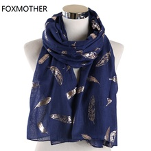 FOXMOTHER New Fashion Lightweight White Navy Pink Color Foil Gold Hijab Scarves Feather Scarf Women 2019