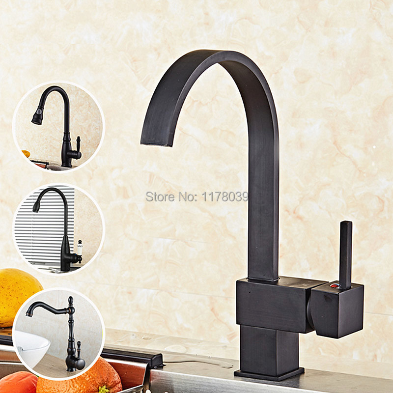 US $64.43 12% OFF|European style oil rubbed bronze kitchen faucet,antique  brass kitchen faucet,single handle vintage black kitchen sink tap,J17063-in  ...