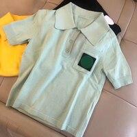 2019 новейшая трикотажная блузка женская брендовая блузка женская Высококачественная блузка с коротким рукавом летние топы с отложным ворот