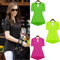Sexy Women Peplum Tops V Neck Short Sleeve Casual Chiffon Shirt Blouse Plus Size