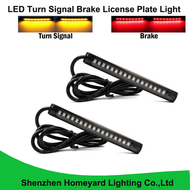 Homeyard 2pc Universal Flexible LED Turn Signal Tail Brake License Plate Light Integrated for Motorcycle Bike ATV Car RV SUV