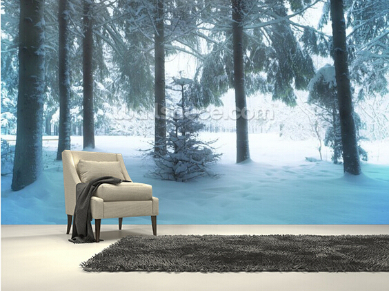 Custom Natural Wallpaper,Winter Forest,3D Landscape Murals For Living Room  Bedroom Kitchen Background