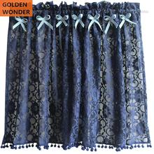 GOLDEN WONDER Blue Lace Short Door Half Coffee Curtain Cabinet Semi-Curtains Ready Made Chinese 140CMX60CM