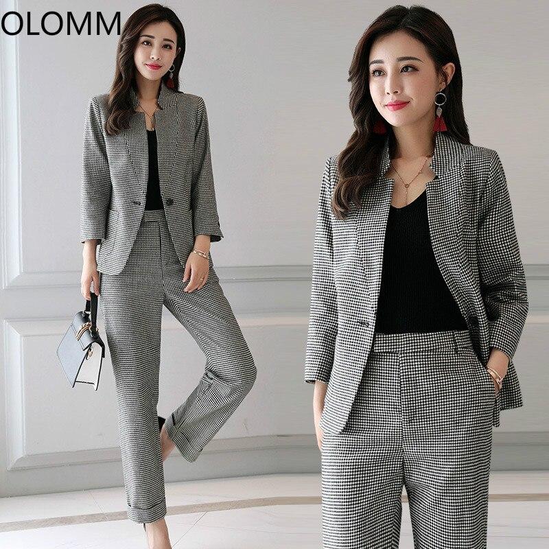 9462e500d220 Vestito delle donne 2019 primavera e in autunno nuovo professionale delle  donne piccolo vestito vestito di pantaloni pantaloni plaid di modo di  temperamento ...