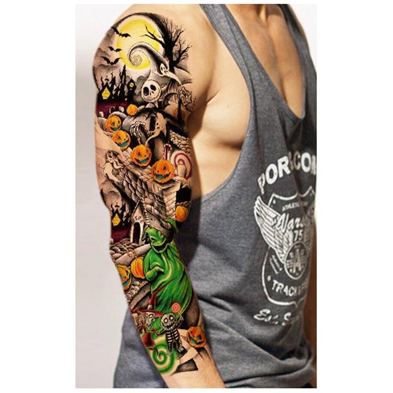 5Pcs Waterproof Large Temporary Tattoos Stickers Fake Paste Leg Full Arm Tattoo Sticker Sleeve On The Body Art For Men Women