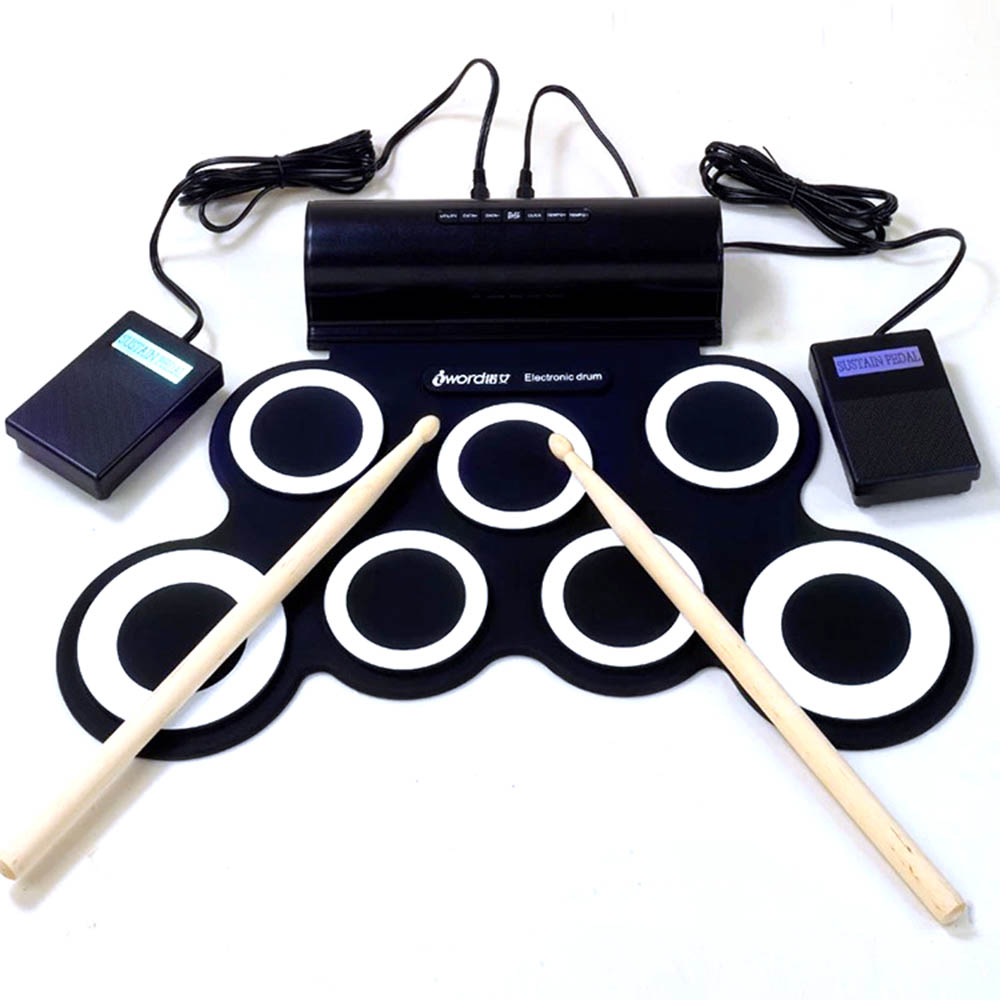 Portable Roll Up Electronic Drum Set with Two Horn USB MIDI Silicone Drum Musical Instrument for Children Kids Learning Practice cheerlink md 1008 usb portable multifunctional professional midi electronic drum multicolored