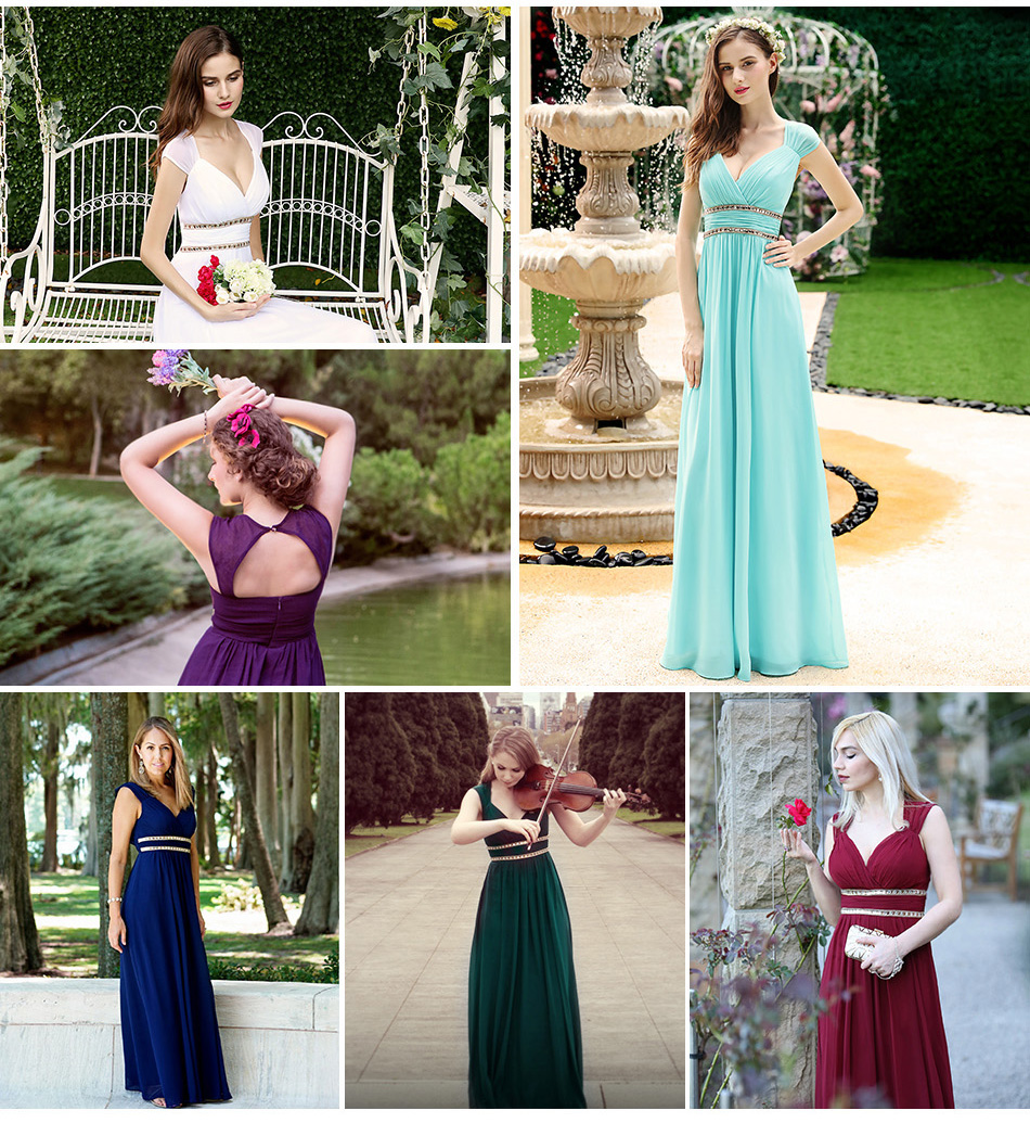 длинные вечерние платья тех довольно ep08697 для женщин Elegant темно-видел-белые без рукавов с В-бюстгальтер провода империя вечерние платья 2018 новый