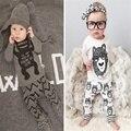 2016 estilo de Otoño Invierno 0-2 T muchacha del bebé Recién Nacido ropa de bebé sistema del muchacho ropa de Algodón de manga Larga t-shirt + pants 2 unids