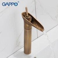 GAPPO Basin Faucet antique brass waterfall faucet basin sink faucet mixer taps bathroom water taps deck mounted faucet