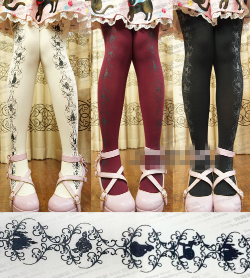 Princess sweet lolita pantyhose Japanese lolita princess sleeping beauty sleep Rose castle Printing pantyhose LWK63
