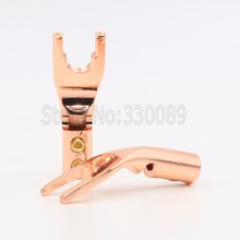 Free shipping 4pcs Pure Copper Speaker Cable Wire  Y fork AMP Terminal spade for speaker cable