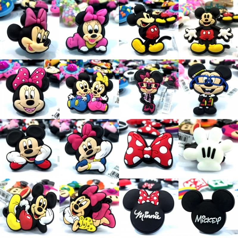 4pcs/lot Mickey High Imitation Cute Cartoon Shoe Charms Buckles Accessories Fit For Bracelets Croc Decor JIBZ Kid Birthday Gift