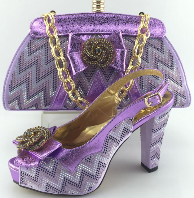 Specail fashion design purple Italian shoes matching with bags with rhinestone,New African shoes and bag sets for party !MJY1-40