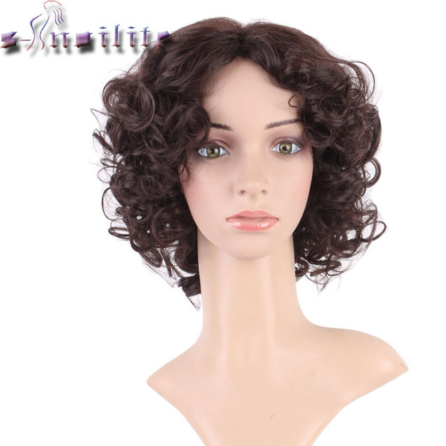 S-noilite Kinky Curly Wigs for Black Women Blonde Mixed Brown Synthetic Wigs African Hairstyle