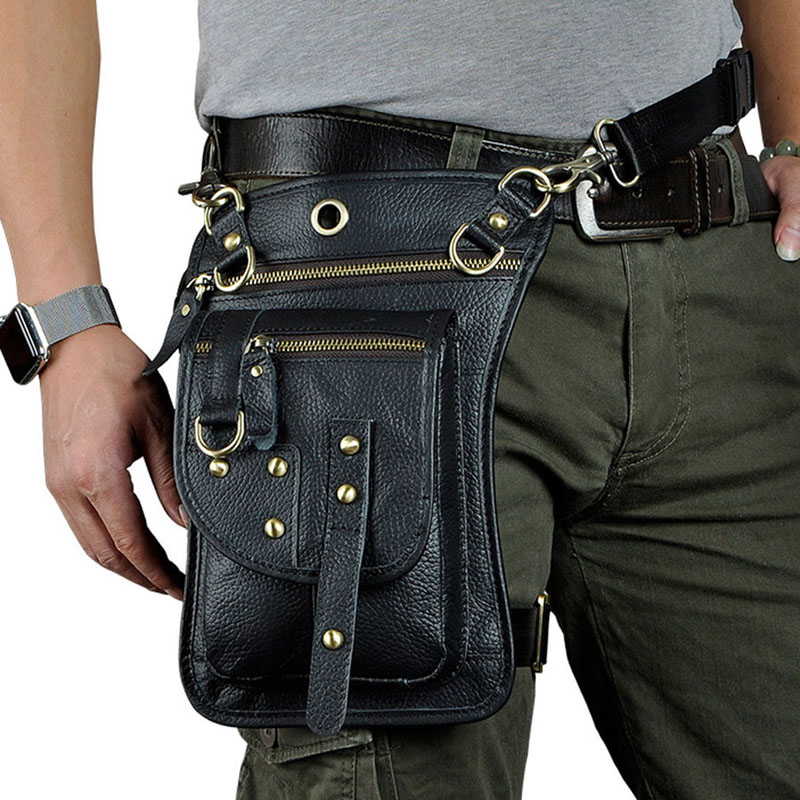 Men's Vintage Leather Drop Leg Bag Thigh Hip Bum Belt Military Motorcycle Messenger Hook Fanny Pack Male Waist Bags New
