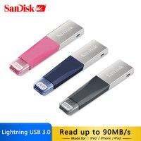 100% Genuine SanDisk USB Flash Drive for iphone ipad and PC 128GB 64GB PENDRIVE 32GB 16GB Original USB3.0 Pen Drive