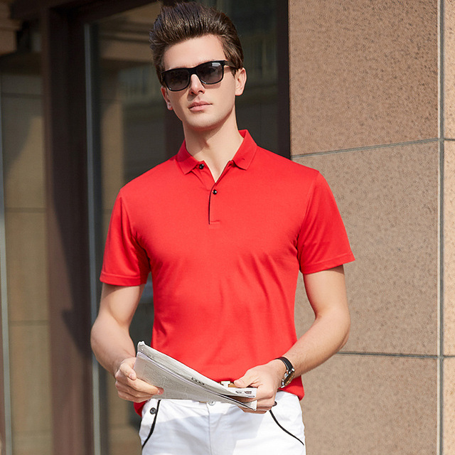 Summer Bussines Style Solid Polo Shirt Men Casual Breathable Fabric Top  Polo Shirts Slim Quick Dry Camo Polos b5d8c93be47af