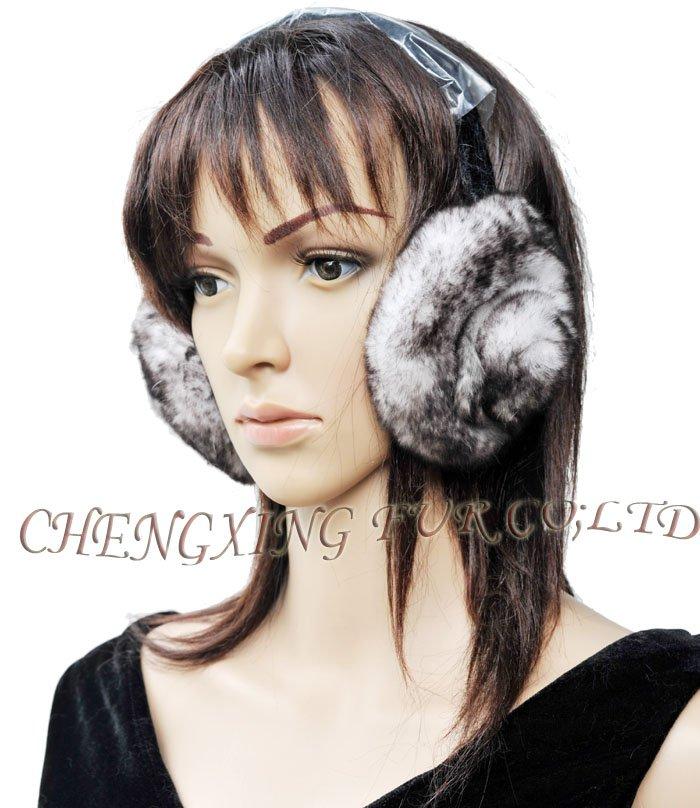 FREE SHIPPING CX-EM-03B Rex Rabbit Fur Floral Earmuff ~ Drop Shipping