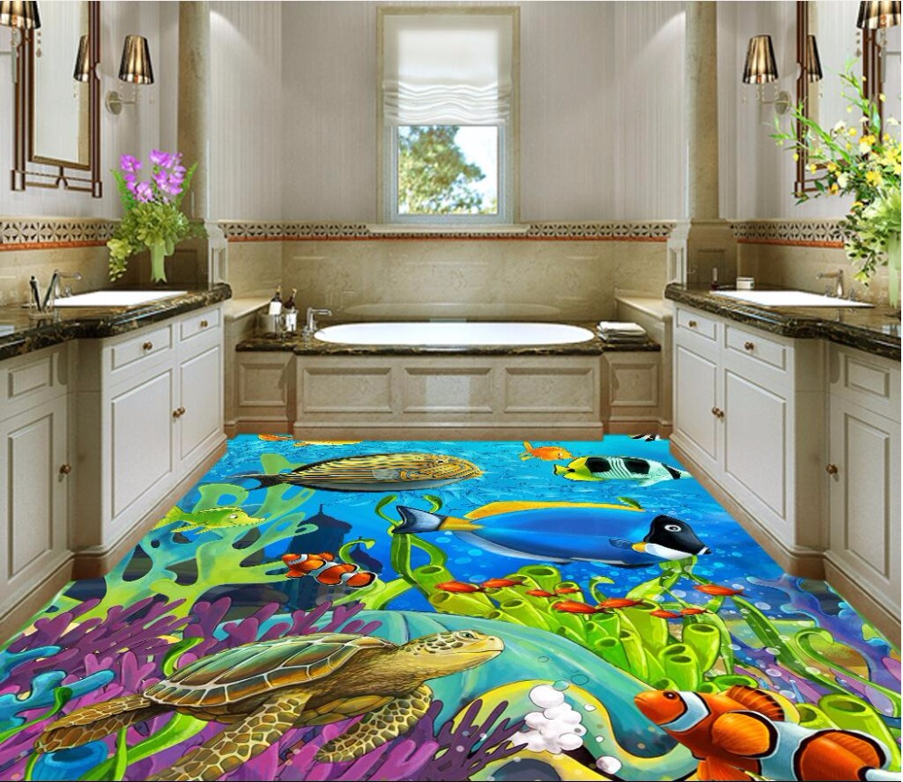 Custom mural 3d flooring picture pvc self adhesive wallpaper bedroom Tropical fish coral decor painting 3d wall murals wallpaper custom mural 3d flooring picture pvc self adhesive european style marble texture parquet decor painting 3d wall murals wallpaper