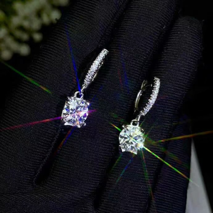 Lanzyo 925 argent Sterling natuarl Moissanite diamant boucles d'oreilles filles cadeau d'anniversaire en argent Sterling bijoux fins cadeau femme