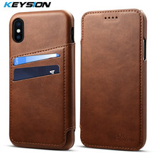 Funda abatible para teléfono KEYSION para iPhone 7 6X8 Plus Funda de cuero de lujo con ranuras para tarjetas funda trasera para iPhoneX 7 Plus 6 s 8 Plus(China)