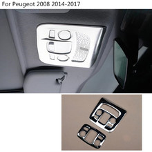 car styling ABS chrome front inner rear tail read reading switch light lamp frame trim 2pcs For Peugeot 2008 2014 2015 2016 2017