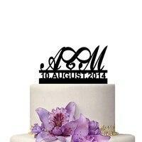 Özel Isimleri ve Tarih ile Düğün Pastası Topper Düğün Dekorasyon Kişiselleştirin Evlilik Kek Dekorasyon Aksesuar Doğum Günü Partisi
