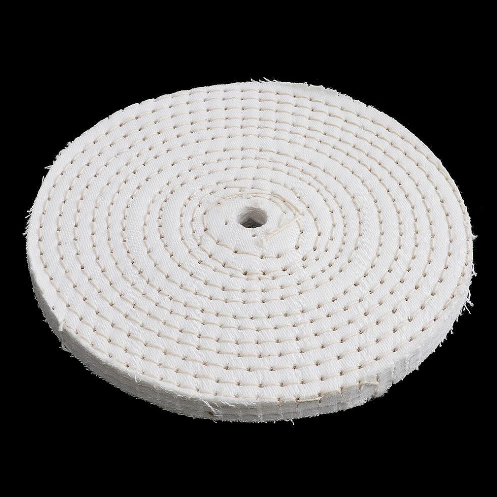 6 Inch T-shaped White Cotton Cloth Polishing Wheel Mirror Polishing Buffer Cotton Pad With 10mm Hole For Metal Polishing