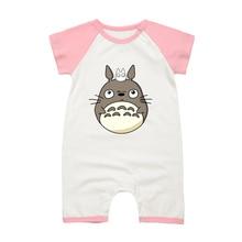 Детский комбинезон с короткими рукавами для новорожденных; одежда с героями мультфильмов «Тоторо»; хлопковые комбинезоны для маленьких мальчиков и девочек; пижамы