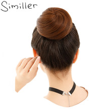 Similler Synthetic Hair Curly Chignon Hairpiece Elastic Scrunchie Extensions Buns Drawstring 34 Colors Available 613# 1B 2# 99J(China)