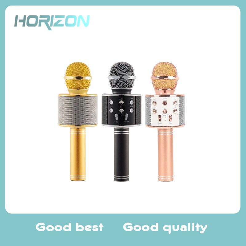 WS-858 Bluetooth Sans Fil Karaoké De Poche Microphone USB KTV Lecteur Bluetooth Mic Haut-Parleur Enregistrer de La Musique
