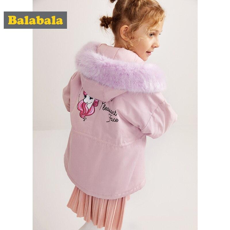 Balabala Girl Unicorn Padded Jacket with Detachable Faux Fur Trimed at Hood Teenage Girl Hooded Jacket