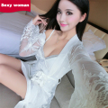 Women Sexy Robe Lingerie Sling White long-sleeved High-end fine Lace side Deep V-neck gather Breast Chest pad set wholesale