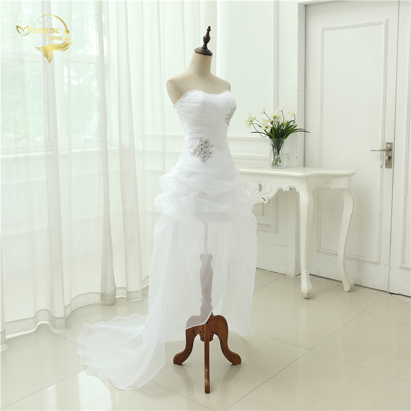 Vestido De Noiva 2017 New Shiny Organza Women Bride Sweetheart Beading Front Short Back Long White Ivory Wedding Dresses OC3399 5