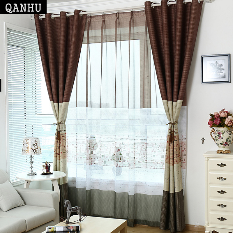 QANHU 2017 Hot Sale Luxury Blackout Tulle Curtain For