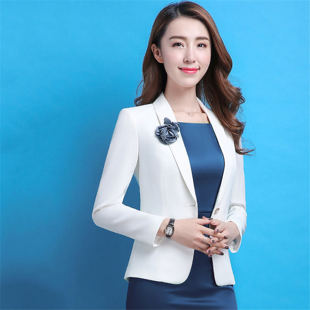 f4e7eed447d US $23.94 27% OFF|Aliexpress.com : Buy 2018 New Arrival Fashion Autumn  Suits Sexy Above Knee elegant Dress Full Sleeve temperament white  blazer+blue ...