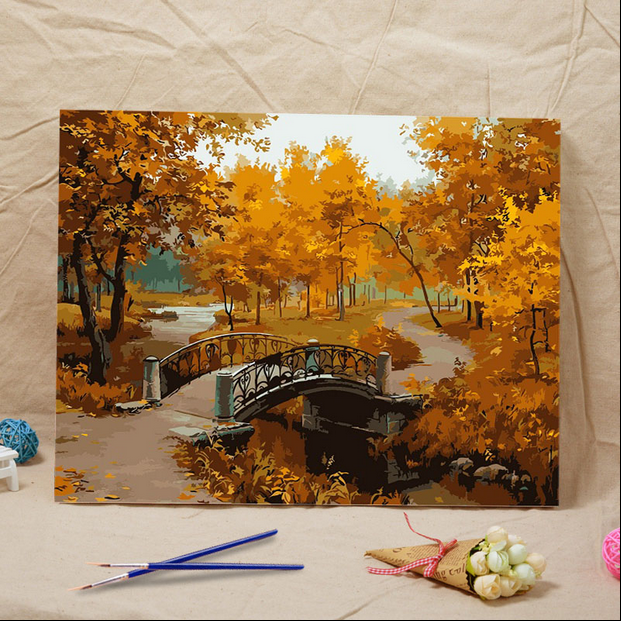 Frameless diy oil painting Landscape Autumn acrylic paint wall painting tower from the digital unique Home Decoration gifts