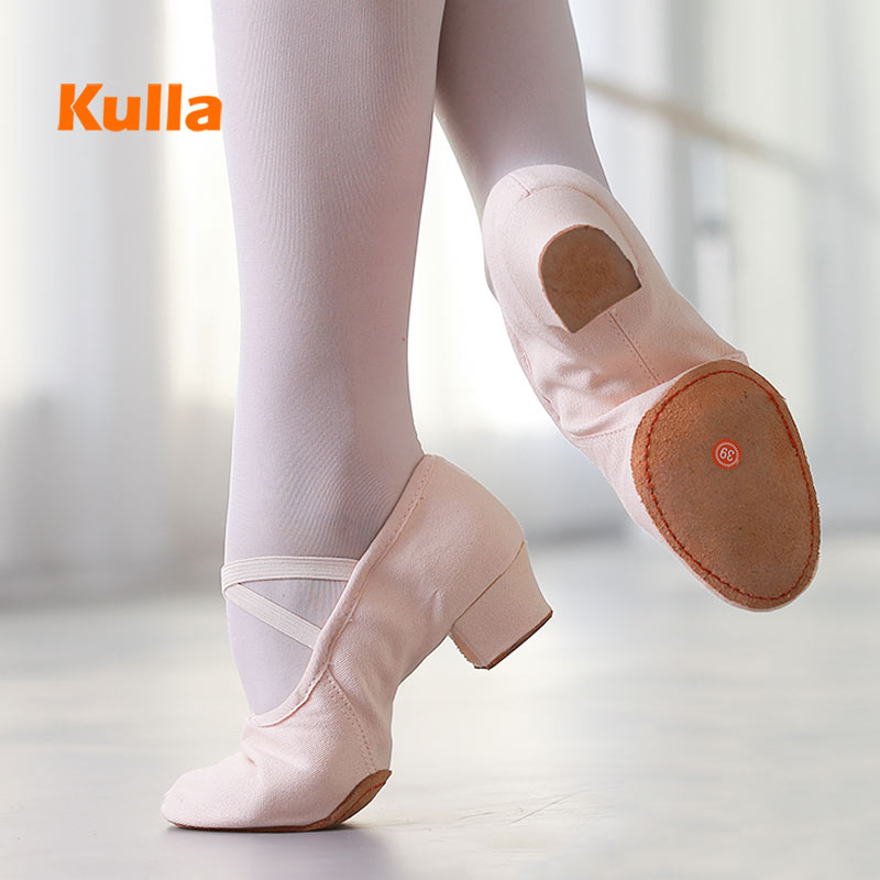 Women Ballet Dance Shoes Girls Ladies Canvas Dance Shoes Teachers Practice Salsa Ballroom Dancing Slippers Soft Sole Jazz Shoes