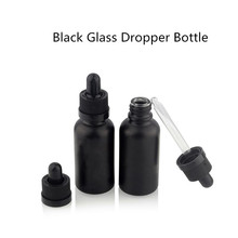 5pcs clear dropper bottle 3ml 5ml 10ml 15ml 20ml 30ml 50ml e liquid bottle eye liquid dropper refillable bottle 30ml Empty Black Clear Frosted Glass Dropper Bottle Vial Nasal Oil Dropper E liquid Refillable Bottle Package With Black Lid