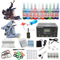 USA Dispatch Complete Beginner Tattoo Kits sets 2 gun Machine Needles Grips 10 Inks Colors Power Equipments set K004 Supplies