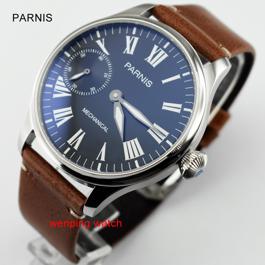 44mm Parnis green luminous Anti-blue glass Roman numerals mechanical hand winding 6497 mens watch E2401
