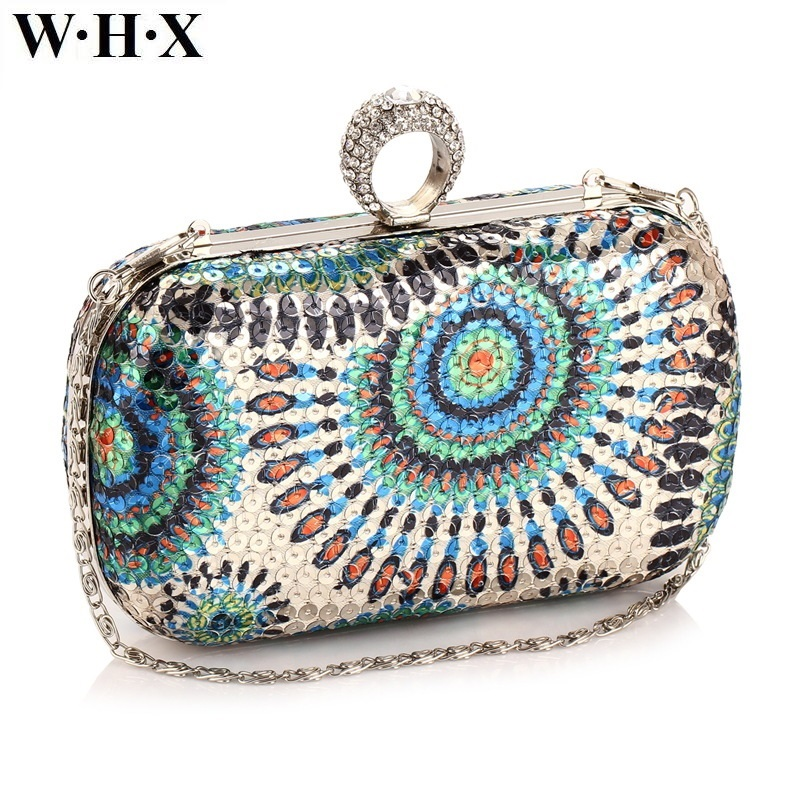 WHX Diamond Sequins Retro Style Female Clutch Bag Women Evening Bag For Dinner Wedding Lady Girls Tote Evening Bags Painting New aidocrystal heart shape factory direct sell fashion woman diamond clutch for lady