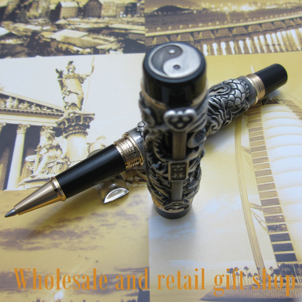 Jinhao Dragon Phoenix Heavy gray Chinese Classical Luck Clip roller Pen цена